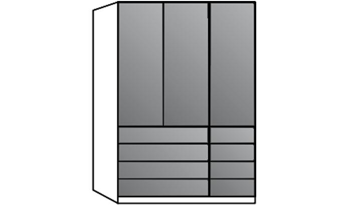 3 Door Wardrobe with Drawers