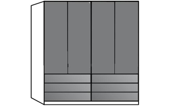 4 Door Wardrobe with 6 Drawers