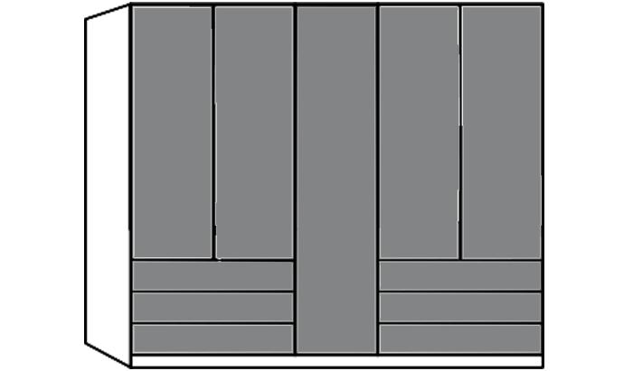 5 Door Wardrobe with 6 Drawers