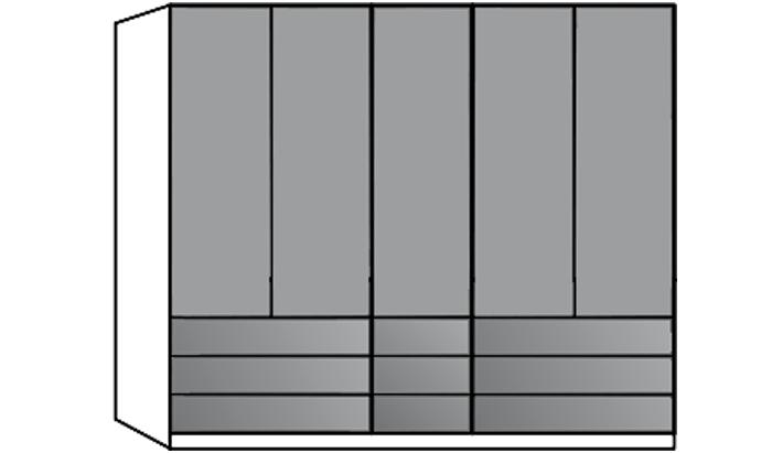 5 Door Wardrobe with 9 Drawers